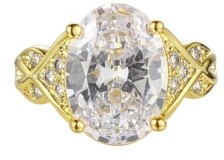 A&M A & M Gold-Tone White Topaz Accent Ring