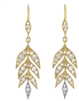 Cathy Waterman Falling Gold Diamond Leaf Drop Earrings