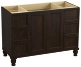 """Kohler Damask Works 48"""" Vanity Base Only with Furniture Legs, 2 Doors and 6 Drawers Finish: Claret Suede"""