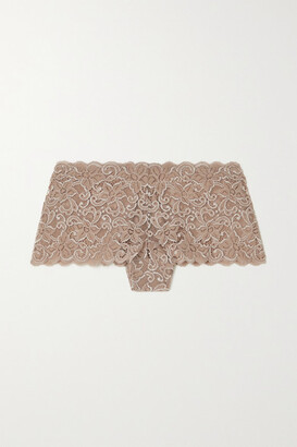 Hanro Moments Stretch-lace Briefs - Taupe