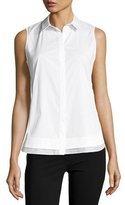 Lafayette 148 New York Excursion Sleeveless Stretch-Cotton Top, White