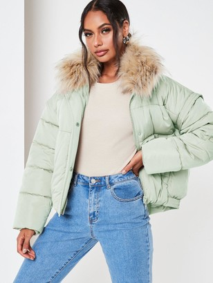 Missguided MissguidedUltimate FauxFur Collar Padded Jacket - Mint