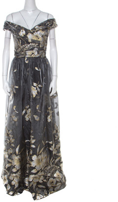 Marchesa Grey Metallic Floral Fil Coupe Layered Off Shoulder Gown L