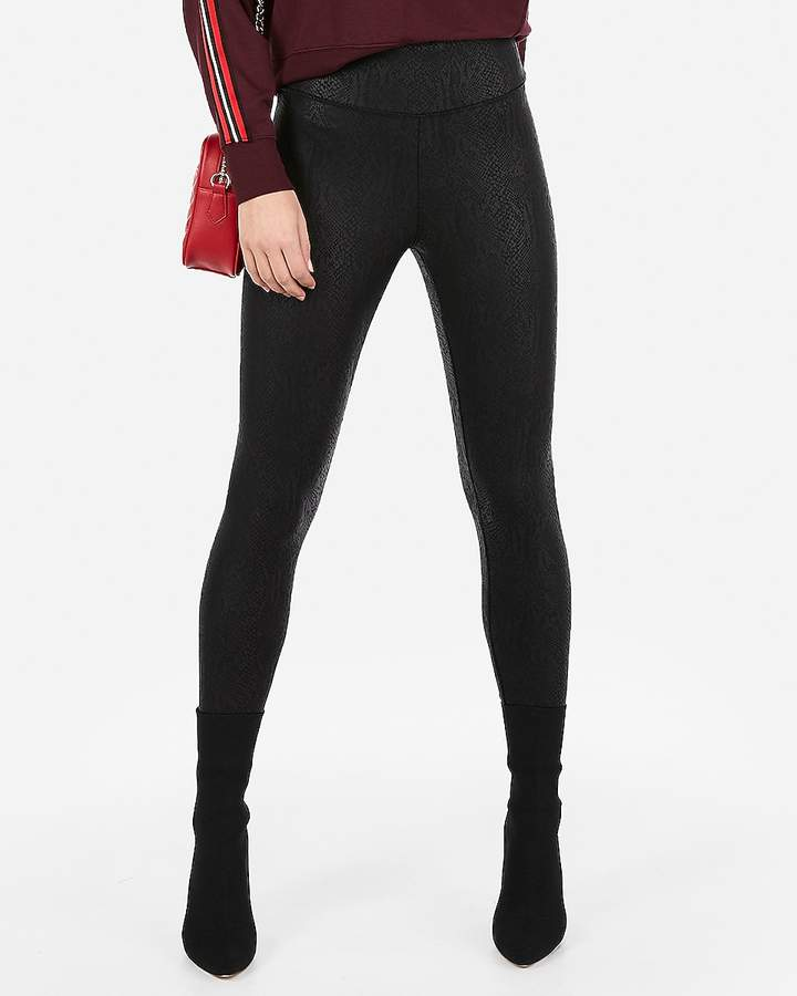 Express High Waisted Snakeskin Print Faux Leather Leggings