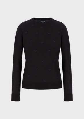 Emporio Armani Mixed Virgin-Wool Sweater With An Embroidered Monogram