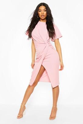 boohoo Angel Sleeve Twist Detail Midi Dress