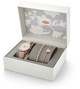 Fossil Women's ES4021SET Tailor Multifunction Light Brown Leather Watch and Jewelry Box Set