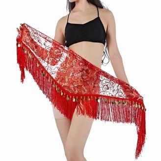 Yefree Women's Belly Dancing Belt Hip SequinTassel Scarf Belt Triangle Skirt Red