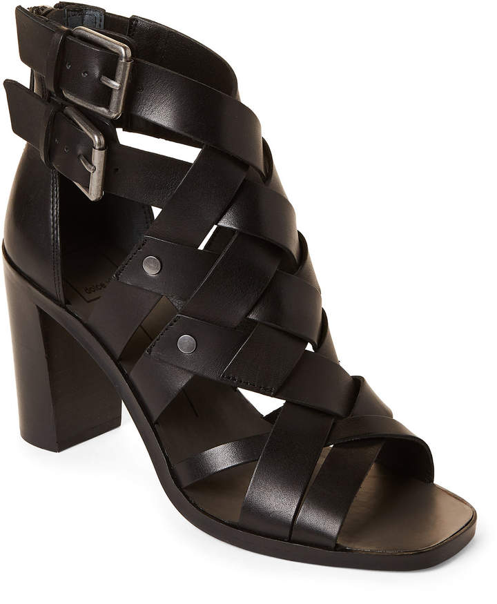 Dolce Vita Black Noree Woven Leather Sandals