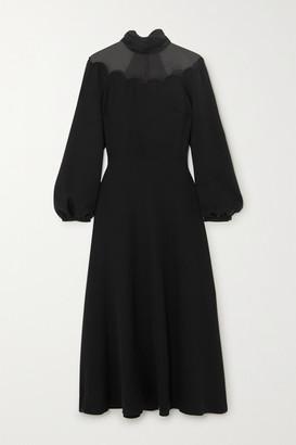 Valentino Tulle-trimmed Scalloped Silk-crepe Midi Dress - Black