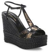 Sergio Rossi Puzzle Leather & Calf Hair Platform Espadrille Wedge Sandals