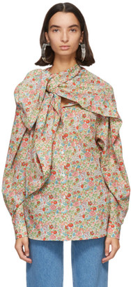 Y/Project Pink Floral Wrap Scarf Blouse