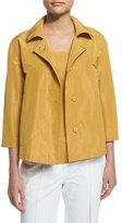 Lafayette 148 New York Tavi Snap-Front Sateen Jacket, Chamomile