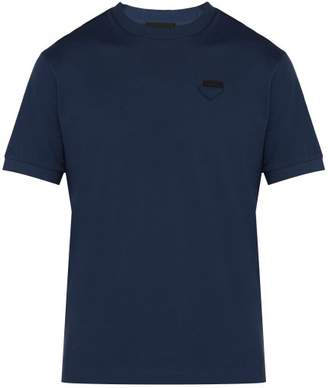 Prada Conceptual Triangle-logo Cotton-pique T-shirt - Mens - Mid Blue