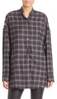 Helmut Lang Wool Blend Plaid Shirt