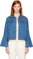 Edit Blue Denim Flute Sleeve Jacket