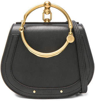 Chloé Small Nile Bracelet Bag Calfskin & Suede in Black | FWRD