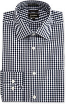 Neiman Marcus Trim-Fit Regular-Finish Check Dress Shirt, Black