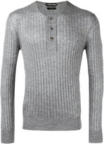 Tom Ford ribbed buttoned jumper - men - Silk/Cashmere - 52