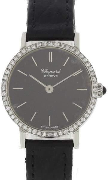 Chopard 8019ACIERINOX Stainless Steel & Leather wDiamonds Manual 24mm Womens Watch