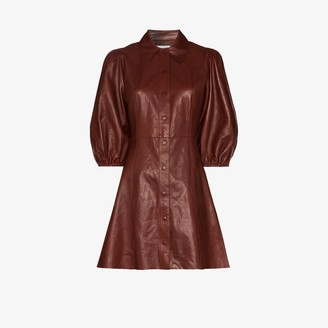 Ganni Button-Up Leather Mini Dress