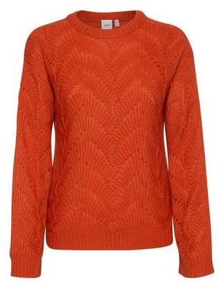 Ichi Open Knit Round Neck Jumper in Burnt Orange - M (12)