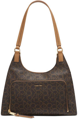 Calvin Klein Ava Signature Leather Hobo Shoulder Bag