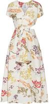 Rosie Assoulin Swept Away Cutout Floral-print Cotton-blend Faille Midi Dress - Cream