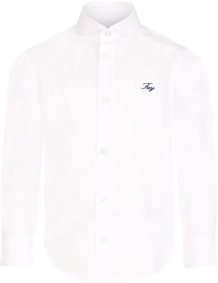 Fay White Shirt For Boy With Logo