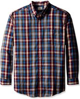 Dockers Big-Tall Long Sleeve No Wrinkle Plaid Twill Solid Button Down Collar Shirt