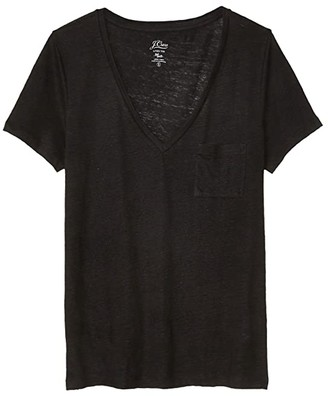 J.Crew Linen V-Neck Pocket T-Shirt (Black) Women's Clothing