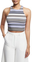 Elizabeth and James Sleeveless Racerback Striped Crop Top, Thistle/Multi
