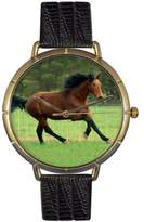 Whimsical Watches Holsteiner Horse Black Leather and Goldtone Photo Unisex Quartz Watch with White Dial Analogue Display and Multicolour Leather Strap N-0110028