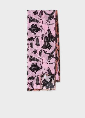 Women's Pink 'Floral Cut Out' Motif Silk-Blend Scarf