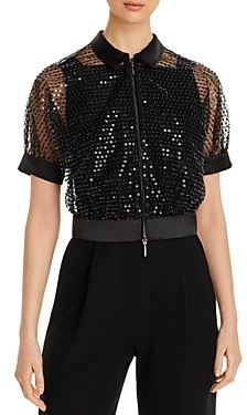 Giorgio Armani Emporio Sheer Beaded Cropped Jacket