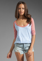 Rebel Yell Destroyed Baseball Tee in Lavender/Red