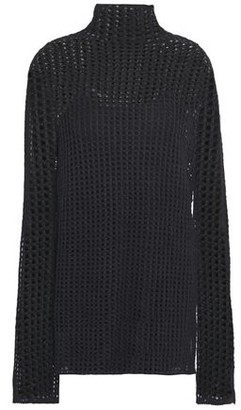 The Row Tameli Open-knit Silk Turtleneck Sweater