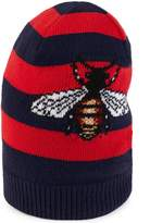 Gucci Striped wool hat with embroidered bee