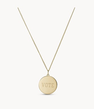 Fossil Vote Gold-Tone Stainless Steel Pendant Necklace JF03691710