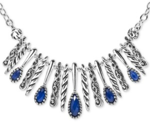 """Carolyn Pollack Lapis Lazuli/Rock Crystal Doublet Statement Necklace in Sterling Silver, 17"""" + 3"""" extender"""