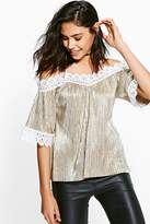 Boohoo Darcy Metallic Cleated Cold Shoulder Top