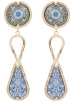 Rosantica Sicilia Tile-pendant Clip Earrings - Womens - Blue Multi