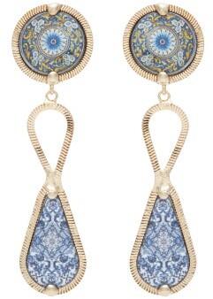 Rosantica Sicilia Tile-pendant Clip Earrings - Blue Multi