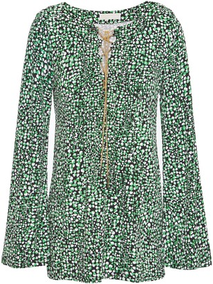 MICHAEL Michael Kors Chain-embellished Printed Ponte Top