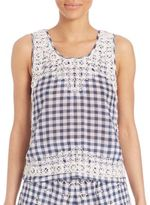 Calypso St. Barth Yunes Embroidered Check Top
