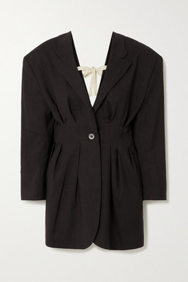 Jacquemus Camargue Tie-detailed Hemp-blend Blazer - Black