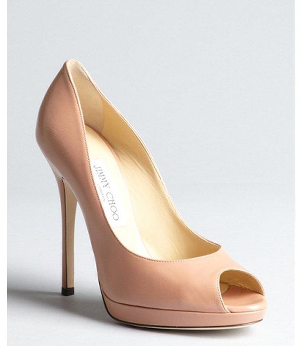 Jimmy Choo blush leather peep toe 'Queit' platform pumps