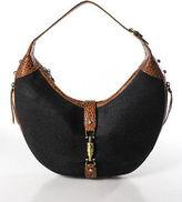 Eric Javits Black Brown Crocodile Detail Shoulder Handbag