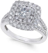 Macy's Diamond Cluster Engagement Ring (1-3/8 ct. t.w.) in 14k White Gold