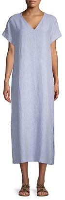Pure Navy Striped Linen Dress